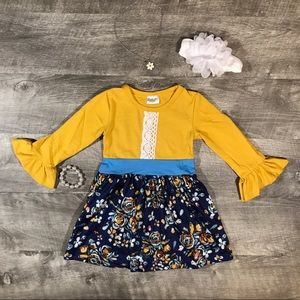 New boutique mustard yellow lace accent dress
